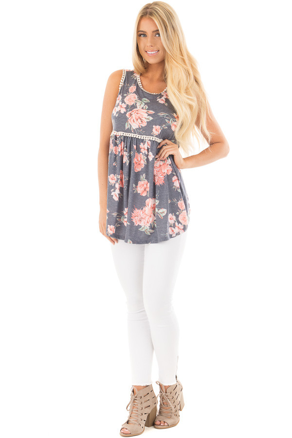 Denim Blue Floral Print Baby Doll Tank with Crochet Trim front full body