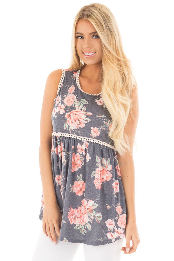 Denim Blue Floral Print Baby Doll Tank with Crochet Trim front close up