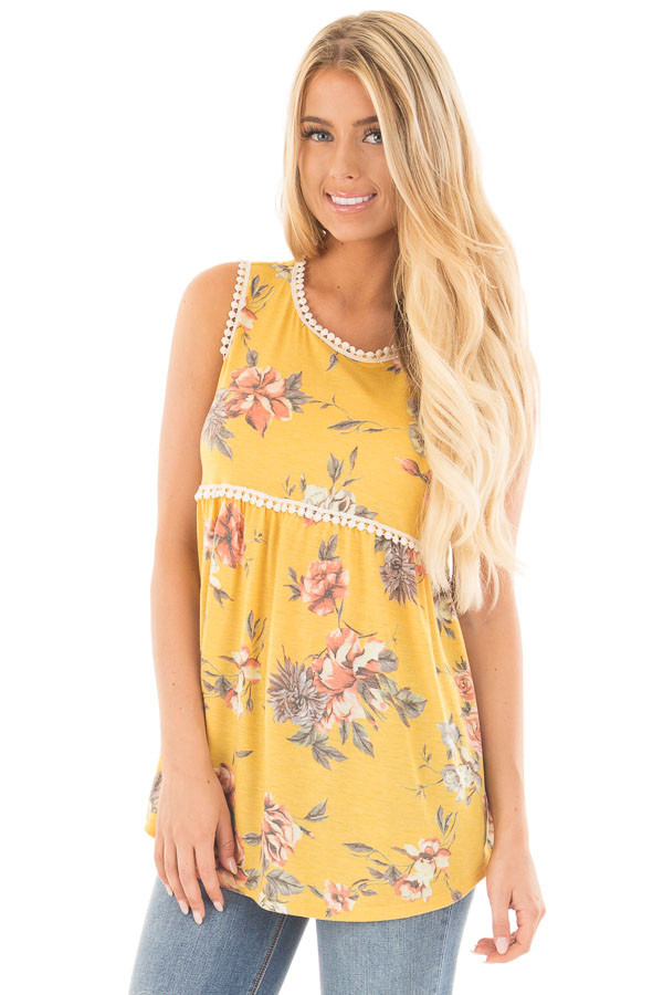 Dandelion Floral Print Baby Doll Tank with Crochet Trim front close up