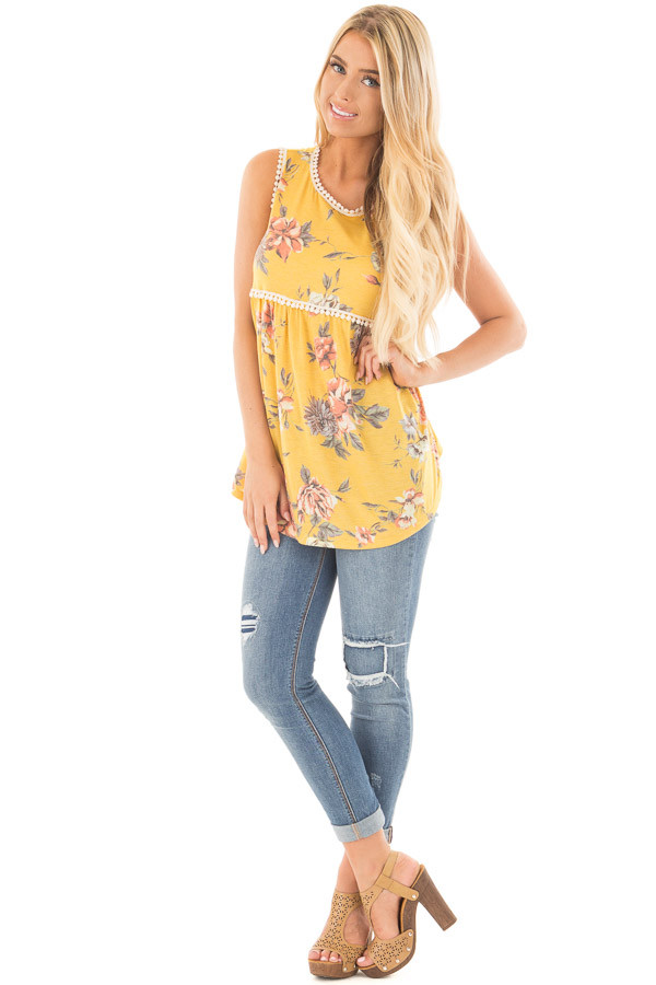Dandelion Floral Print Baby Doll Tank with Crochet Trim front full body