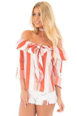 Rust Off the Shoulder Ruffle Top with Bow Tie Detail front close up