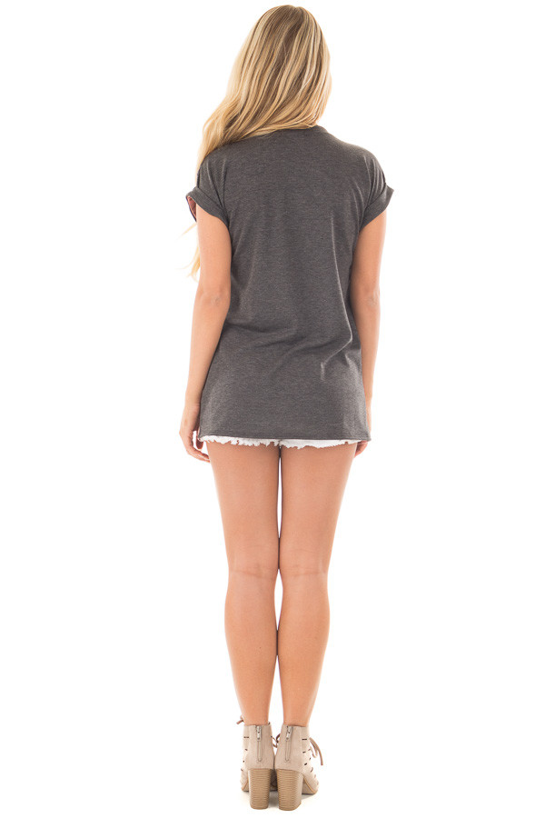 Mauve Striped Distressed Tee Shirt with Charcoal Contrast back full body
