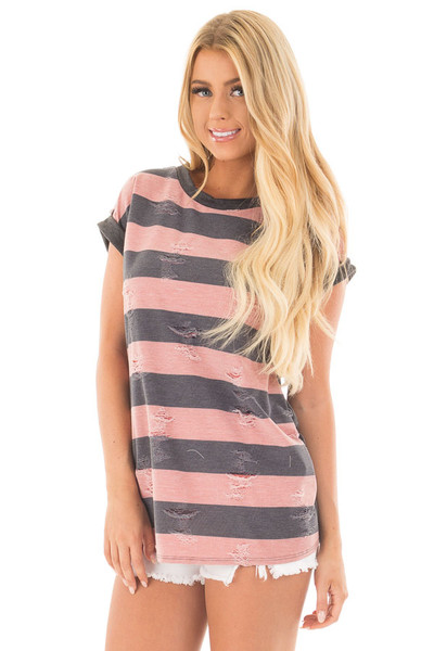 Mauve Striped Distressed Tee Shirt with Charcoal Contrast front close up