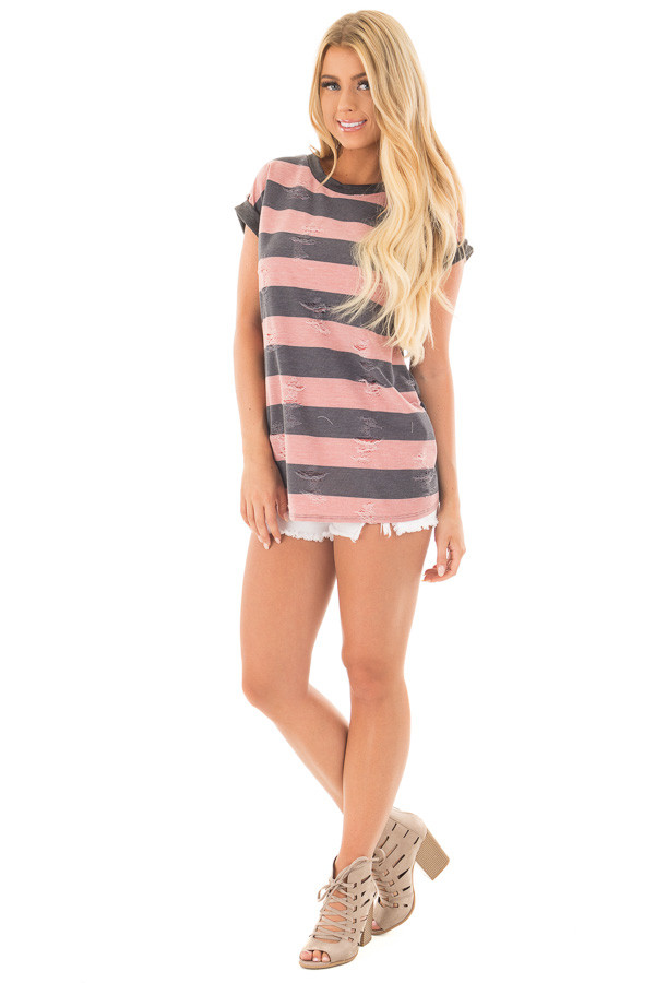 Mauve Striped Distressed Tee Shirt with Charcoal Contrast front full body