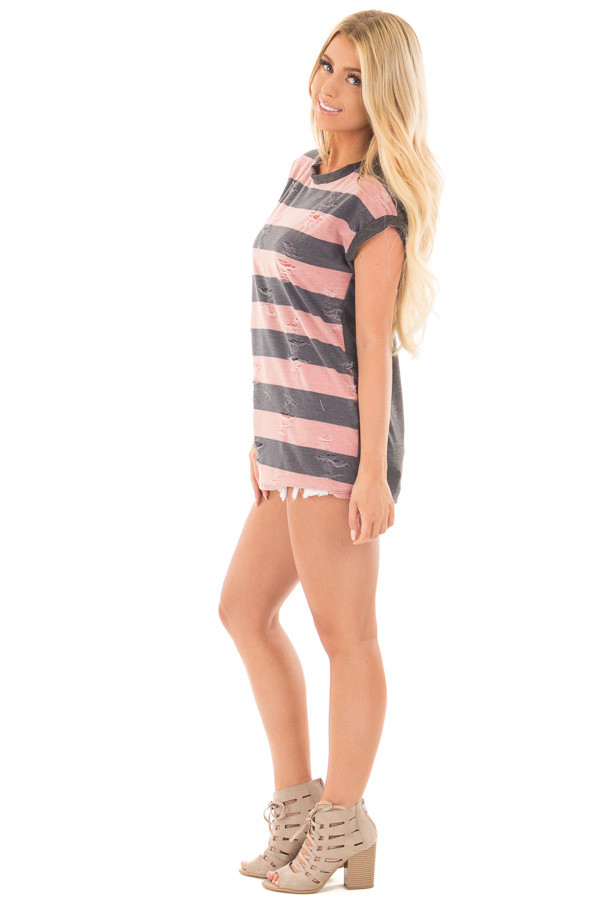 Mauve Striped Distressed Tee Shirt with Charcoal Contrast side full body