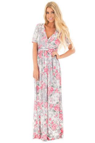 Light Grey and Rose Floral Print Crossover Maxi Dress front full body