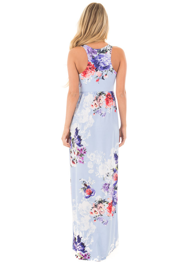 Sky Blue Floral Slinky Racerback Maxi Dress with Pockets back full body