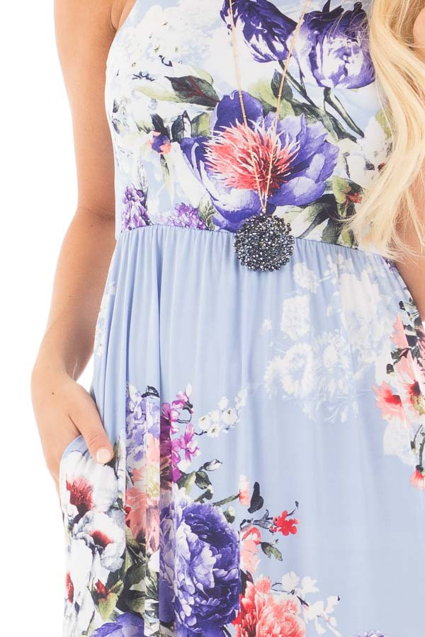 Sky Blue Floral Slinky Racerback Maxi Dress with Pockets detail