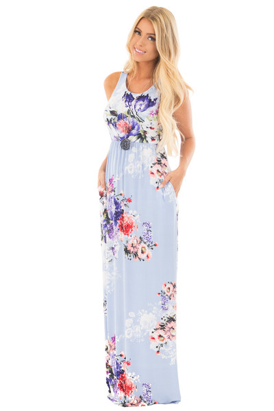 Sky Blue Floral Slinky Racerback Maxi Dress with Pockets front full body