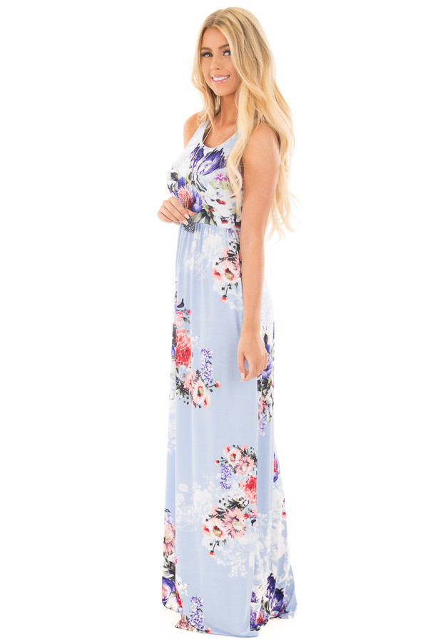 Sky Blue Floral Slinky Racerback Maxi Dress with Pockets side full body