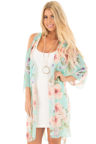 Mint Floral Print Cold Shoulder Open Kimono front full body