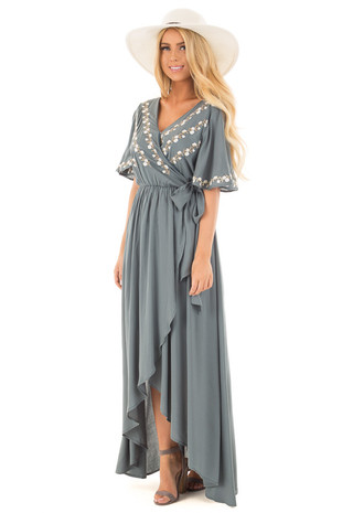 Ocean Green Crossover Boho Embroidered High Low Maxi Dress front full body