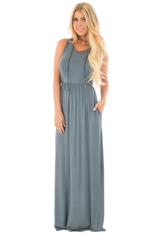 Ocean Green Racerback Maxi Dress with Side Pockets front full body
