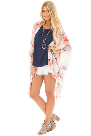 Cream Floral Print Chiffon Kimono with Asymmetrical Hem front close up