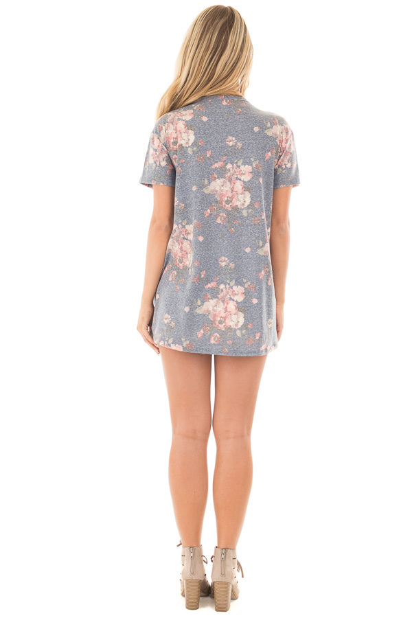 Denim Blue Two Tone Floral Print Tee Shirt with Cut Out Neckline back full body