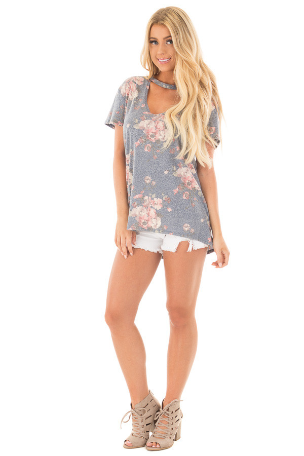 Denim Blue Two Tone Floral Print Tee Shirt with Cut Out Neckline front full body