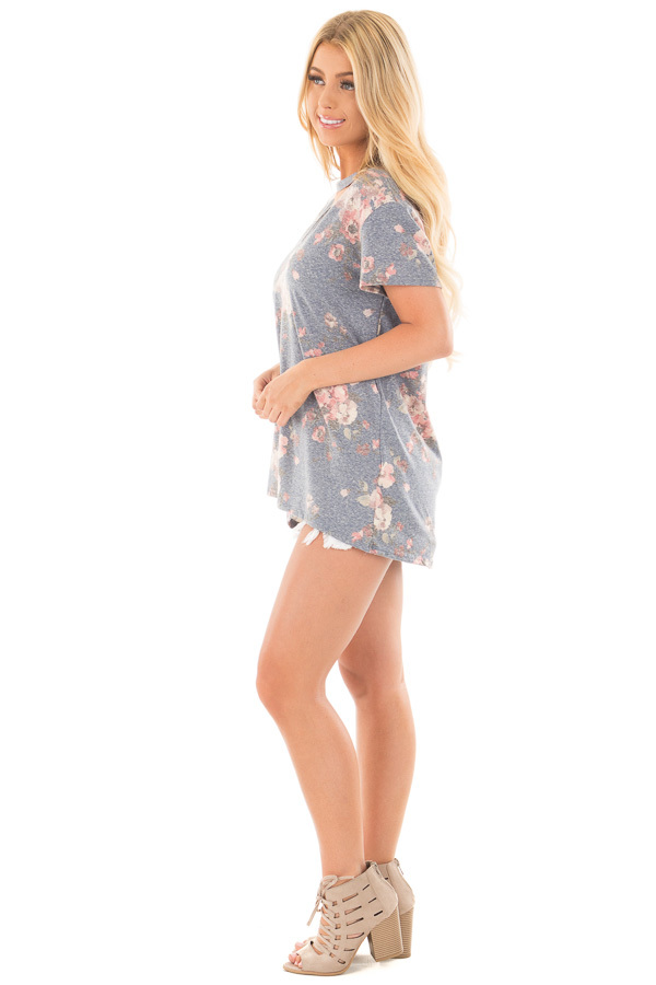 Denim Blue Two Tone Floral Print Tee Shirt with Cut Out Neckline side full body