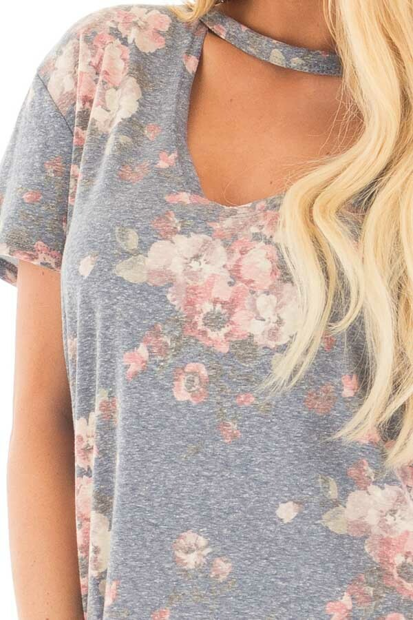 Denim Blue Two Tone Floral Print Tee Shirt with Cut Out Neckline detail