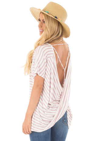 Dusty Rose and Ivory Striped Tee with Draped Open Back Detail back side close up