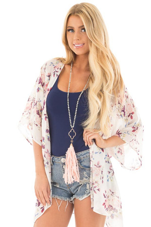 Ivory and Rose Floral Print Open Kimono front close up
