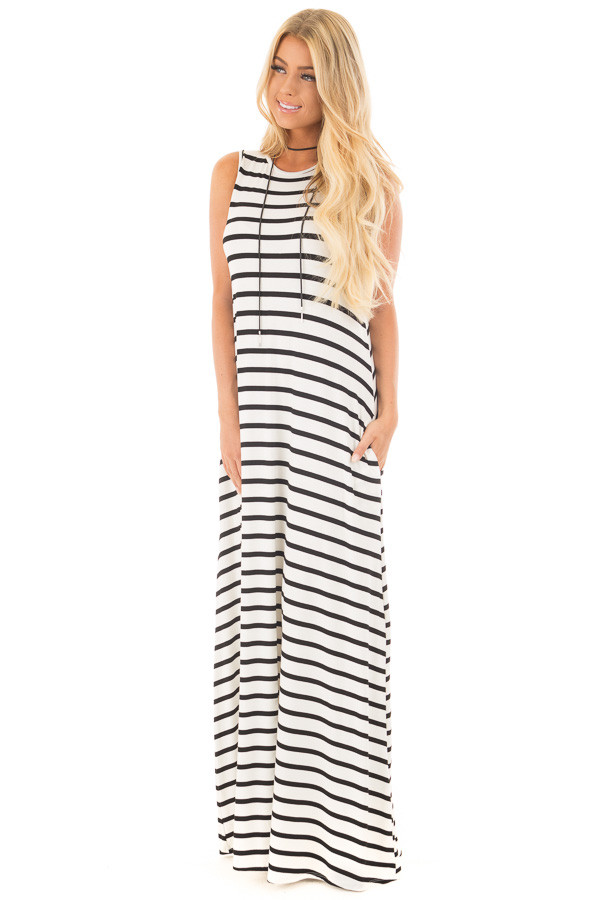 Off White and Black Striped Maxi Dress with Side Pockets | Lime Lush