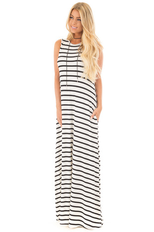Off White and Black Striped Maxi Dress with Side Pockets front full body