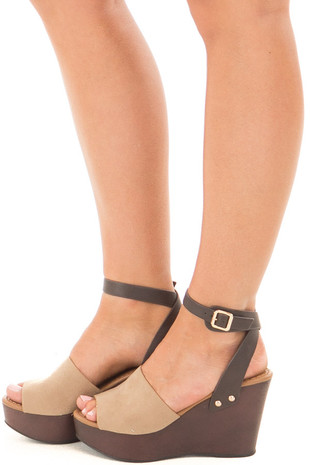 Taupe and Chocolate Wedge Heel with Ankle Strap side view