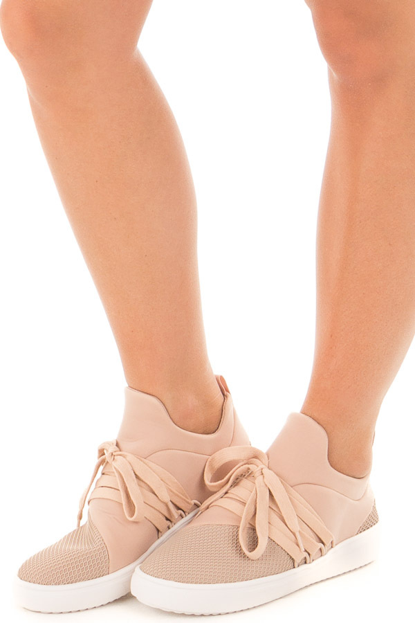 Dusty Blush Sneaker with Laces and Textured Details front side view