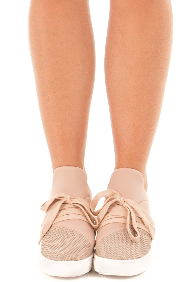 Dusty Blush Sneaker with Laces and Textured Details front view