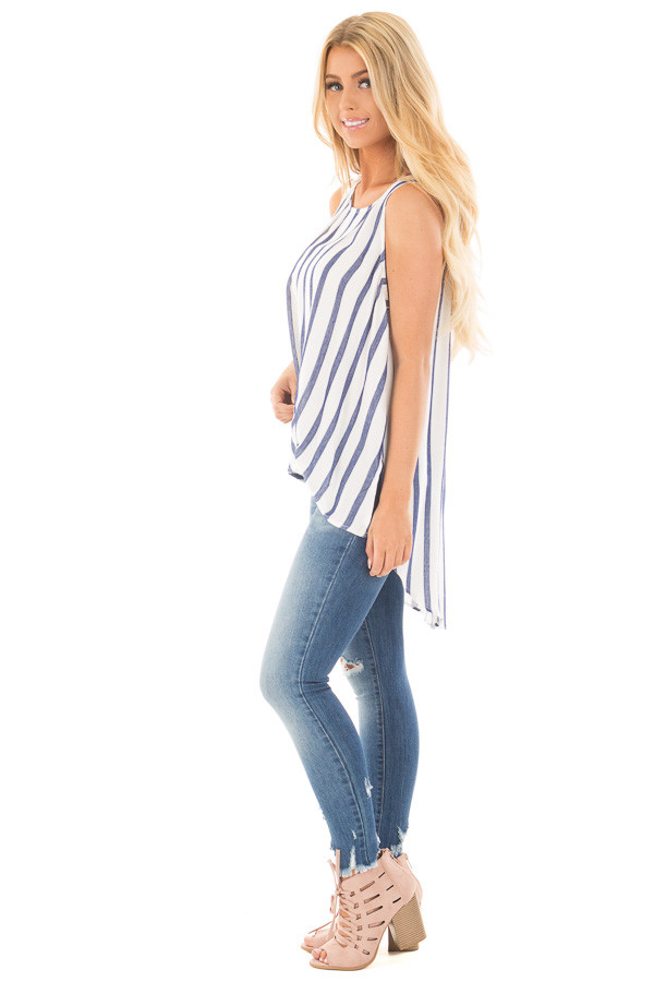 Navy and Ivory Striped High Low Sleeveless Top side full body