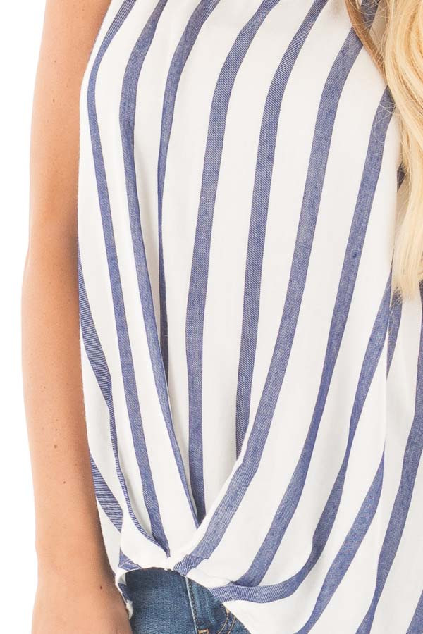 Navy and Ivory Striped High Low Sleeveless Top detail