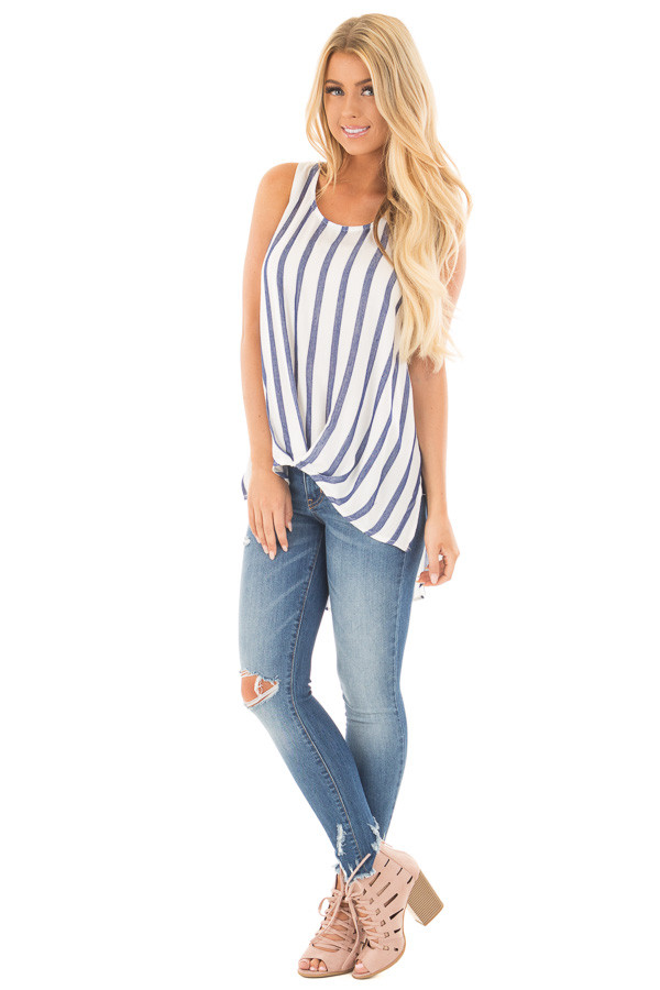 Navy and Ivory Striped High Low Sleeveless Top front full body