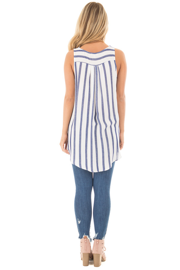 Navy and Ivory Striped High Low Sleeveless Top back full body