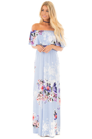 Sky Blue Floral Print Off the Shoulder Bust Overlay Maxi Dress front full body