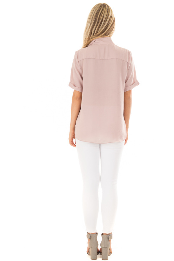Dusty Blush Crossover Drape Blouse with Cuffed Short Sleeves back full body