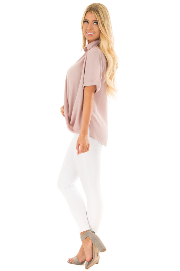 Dusty Blush Crossover Drape Blouse with Cuffed Short Sleeves side full body