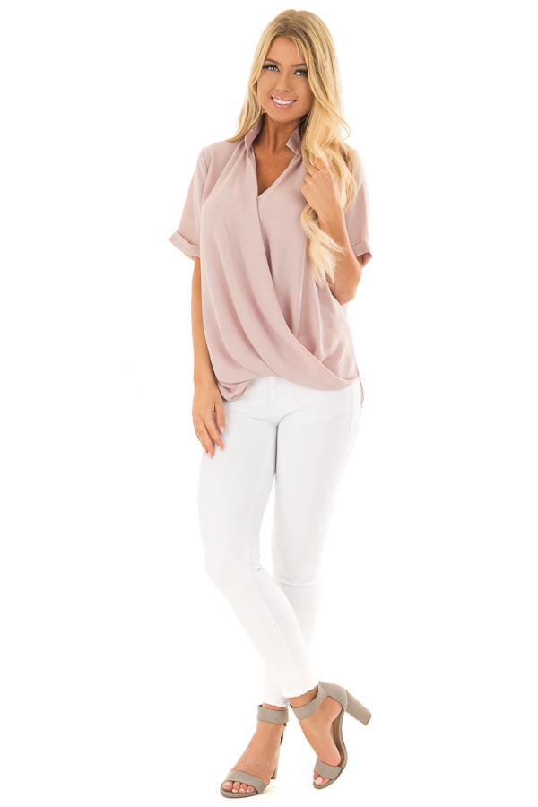 Dusty Blush Crossover Drape Blouse with Cuffed Short Sleeves front full body