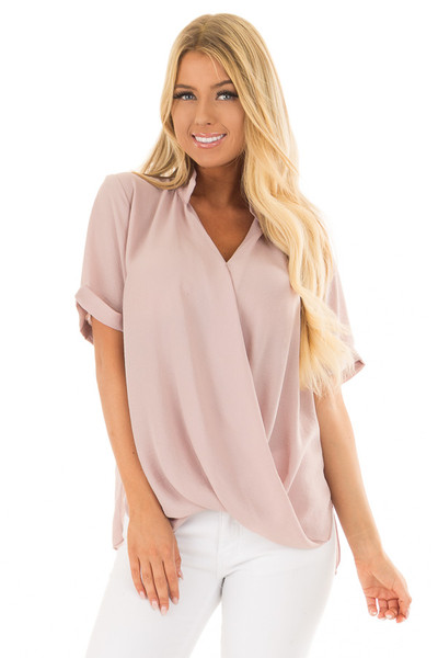 Dusty Blush Crossover Drape Blouse with Cuffed Short Sleeves front close up