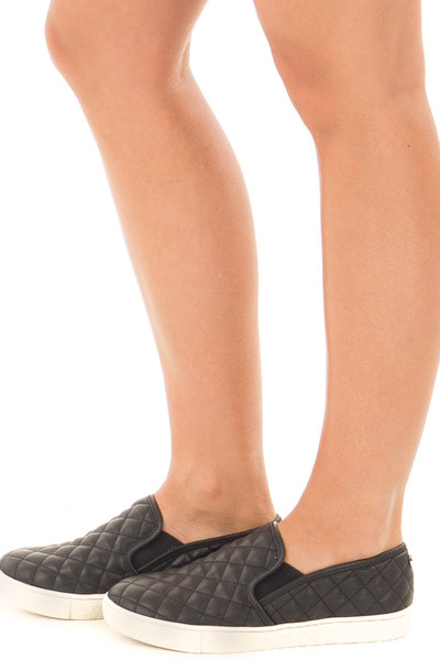Black Diamond Quilted Sporty Slip On Sneaker side view