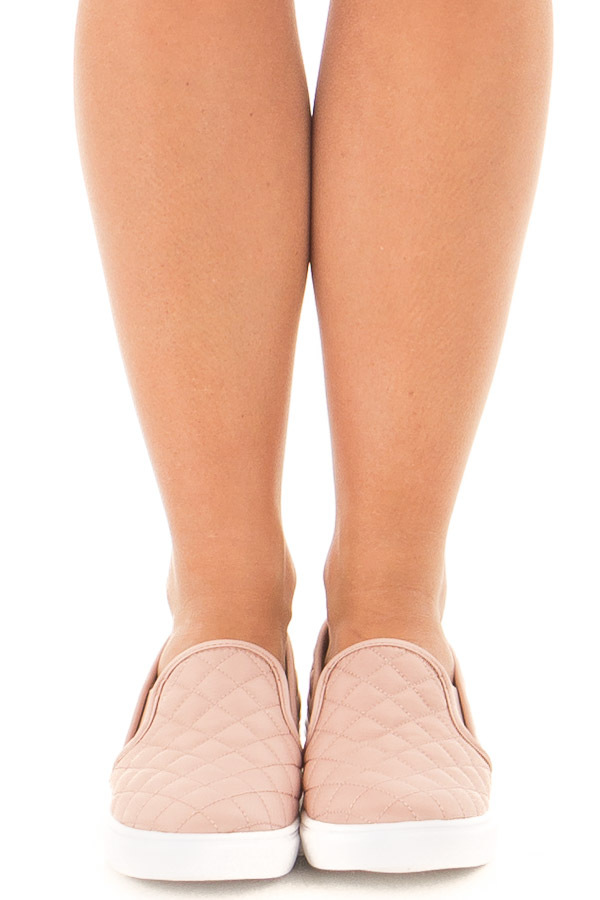 Blush Diamond Quilted Sporty Slip On Sneaker front view