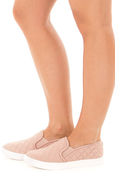 Blush Diamond Quilted Sporty Slip On Sneaker side view