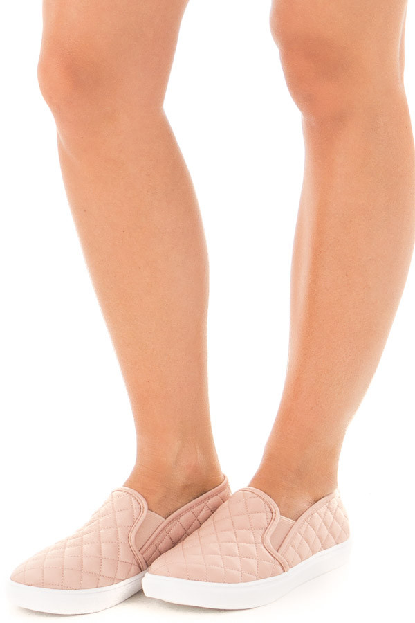 Blush Diamond Quilted Sporty Slip On Sneaker front side view