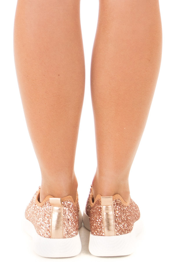 Rose Gold Glitter Lace Up Sneakers back view