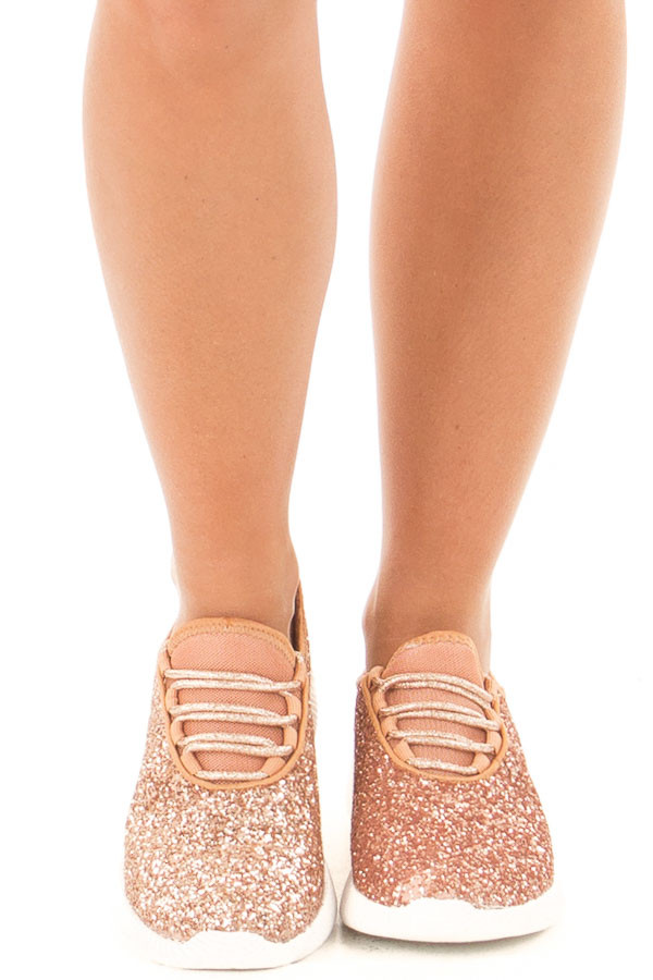 Rose Gold Glitter Lace Up Sneakers front view