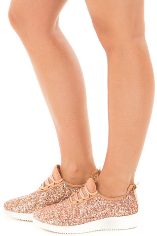 Rose Gold Glitter Lace Up Sneakers side view