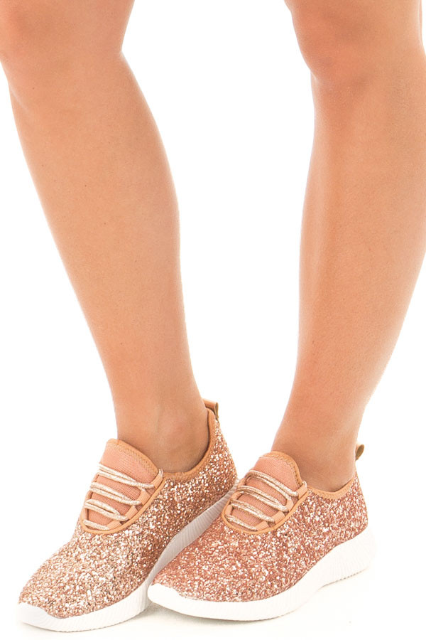 Rose Gold Glitter Lace Up Sneakers front side view