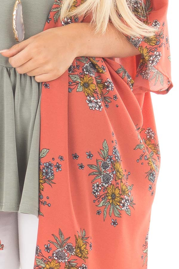 Copper Red Kimono with Dusty Blue and Mustard Floral Detail detail