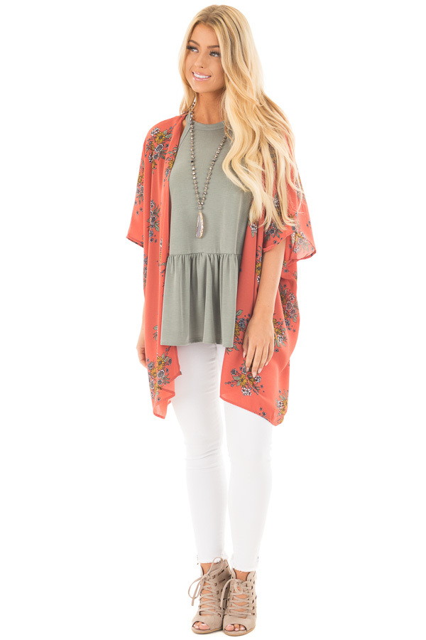 Copper Red Kimono with Dusty Blue and Mustard Floral Detail front full body
