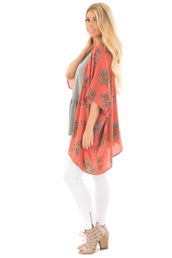 Copper Red Kimono with Dusty Blue and Mustard Floral Detail side full body