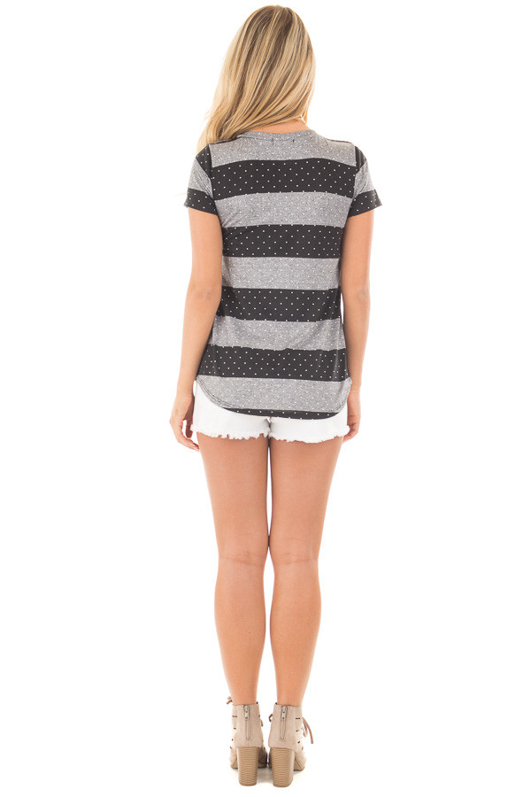 Charcoal and Black Polka Dot and Striped Tee Shirt back full body